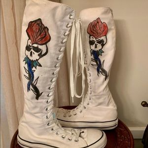 Converse White high lace up hand painted sneakers